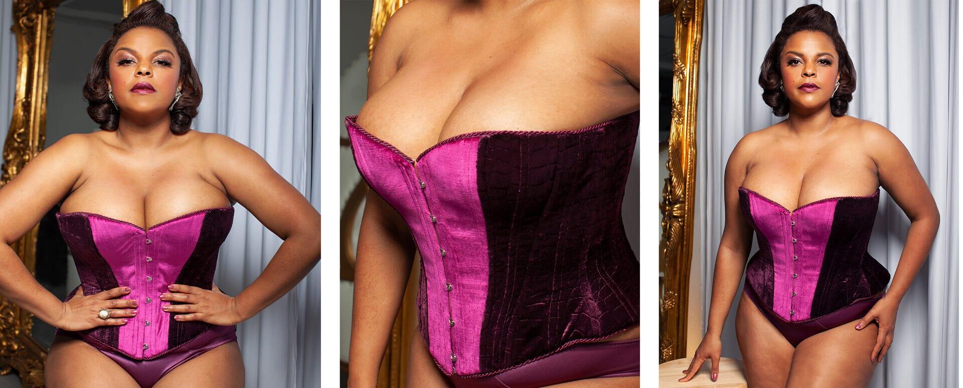 Different poses of Jenny Rieu Wearing Somptueux Rieu corset